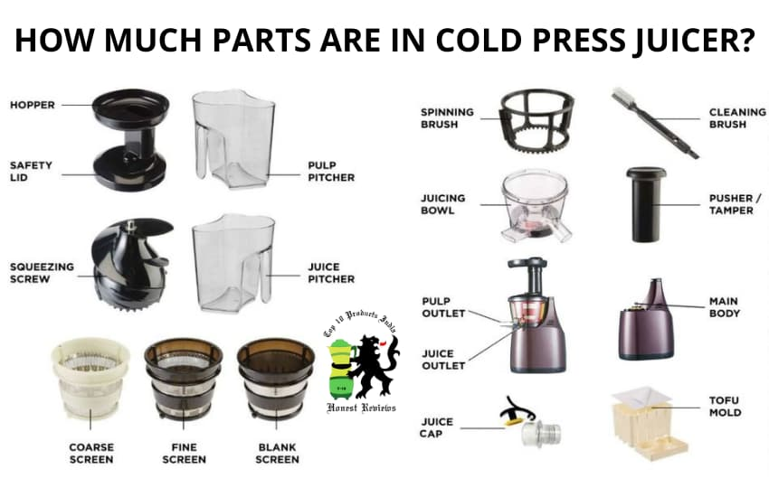 How much parts are in cold press jucier?