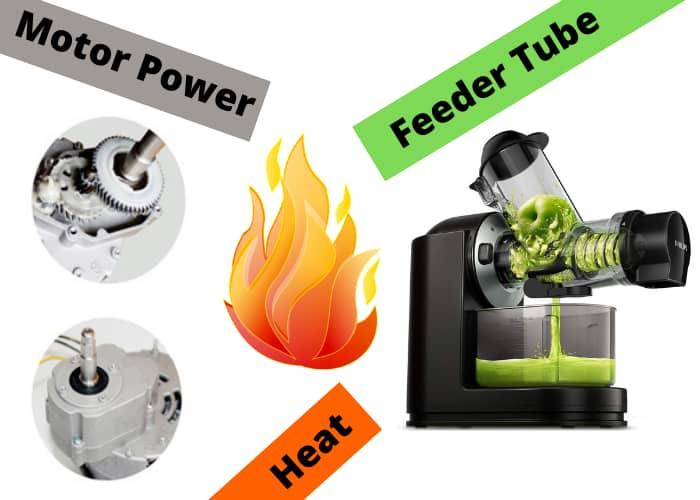 Motor Power, Heat and feeder tube