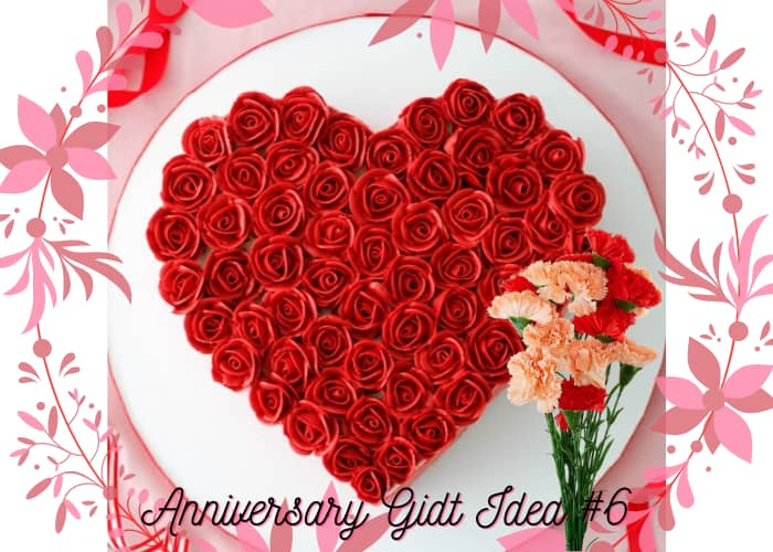 Carnation With Heart Shaped Cake